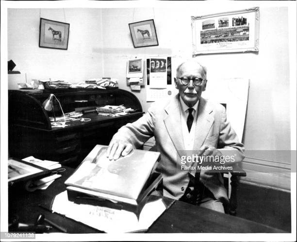 Mr H G Raymond in his office at the St Albans Stud Geelong with a silver box presented to him by the owner of Phar Lap October 30 1970