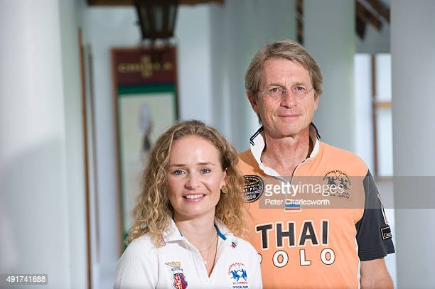 Mr Harald Link Chairman of B Grimm Group of Companies with his daughter Caroline Link at the Thai Polo Equestrian Club located near Pattaya