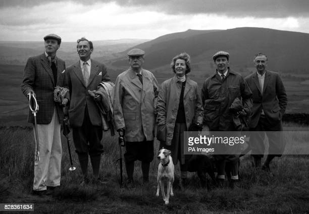 Mr Harold Macmillan is pictured with other members of the party during the first days grouse shooting near Bolton Abbey Left to right The Duke Of...