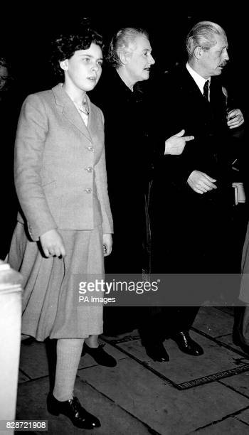 Mr Harold Macmillan walks with his wife and granddaughter Anne Christine Adriane Faber