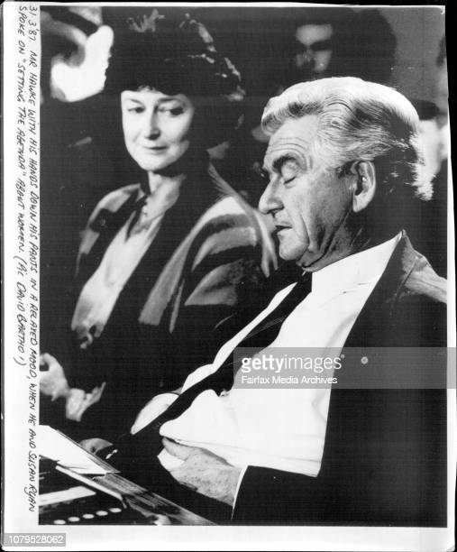 Mr Hawke with his hands down his pants in a relaxed mood when he and Susan Ryan spoke on Setting the Agenda about woman March 31 1987
