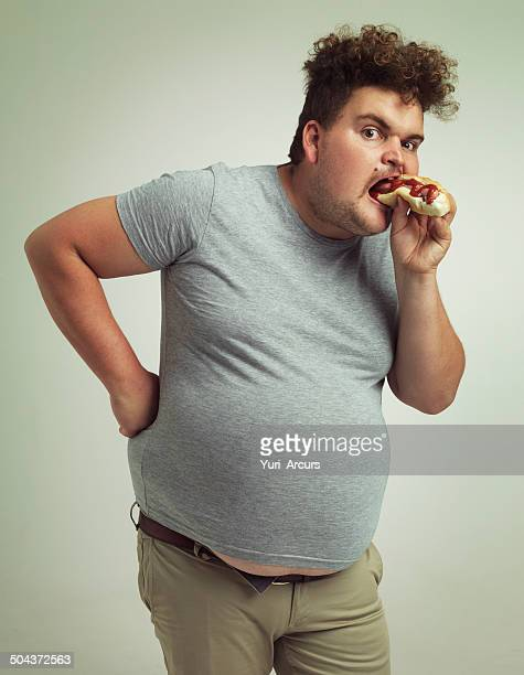 mr hotdog meet my stomach - unhealthy living stock pictures, royalty-free photos & images