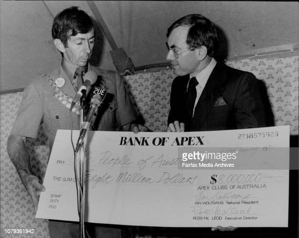 Mr Howard accepts the cheque from National President of Apex Mr Ian WolfgangThe Federal Treasurer John Howard was the guest of honour at the...