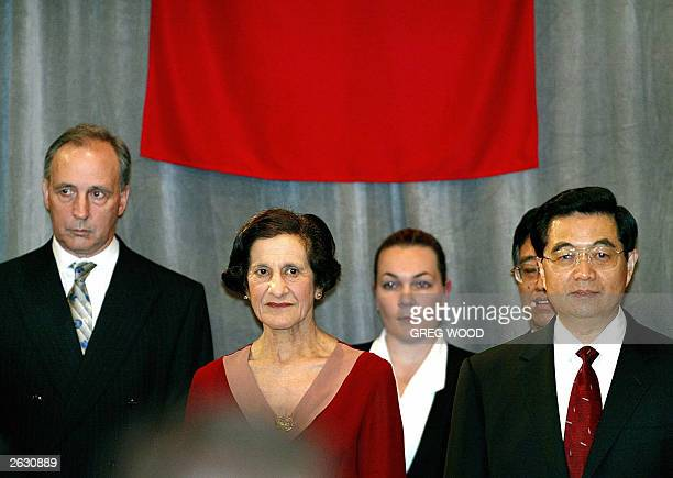 Mr Hu Jintao President of the People's Republic of China stands with the New South Wales Governor Marie Bashir and former Australian Prime Minister...