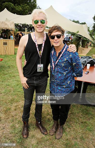 Mr Hudson and Mark Owen attend the Mahiki Coconut Backstage Bar during day 1 of V Festival 2013 at Hylands Park on August 17 2013 in Chelmsford...