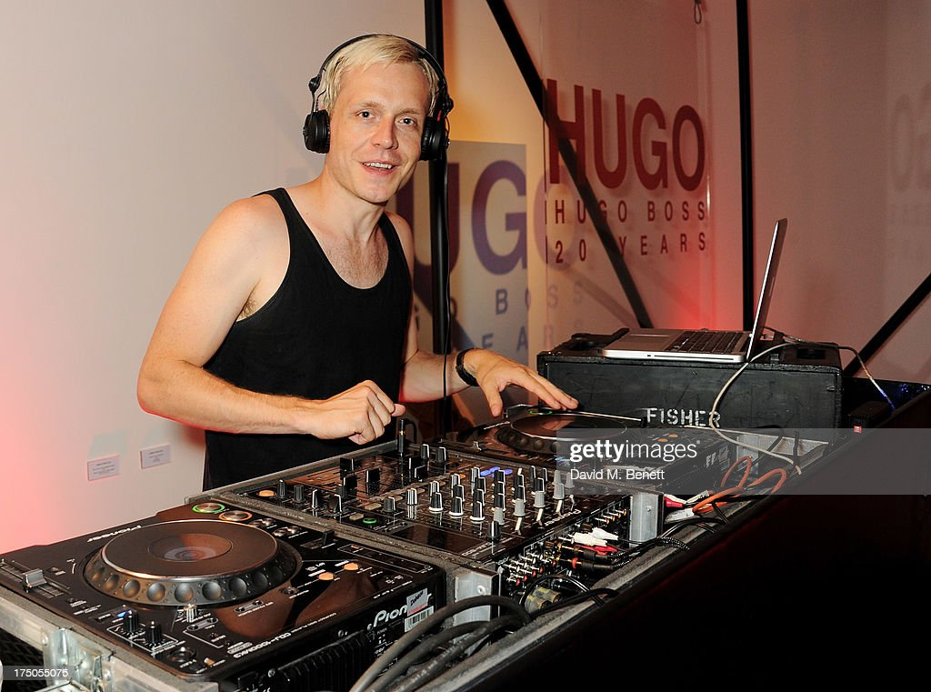 Mr Hudson DJ's at a private view of 'HUGO: Red Never Follows', celebrating 20 years of Hugo Boss, at the Saatchi Gallery on July 30, 2013 in London, England.