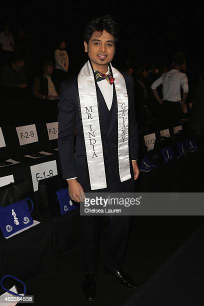 Mr. India Galaxy Prakash Patil attends the Mongol fashion show during Mercedes-Benz Fashion Week Fall 2015 at The Theatre at Lincoln Center on...