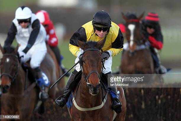 Mr J Creswell rides Inverlochy Lad to victory in the Canal Challenge Hunters' Steeple Chase at Kelso racecourse on March 03, 2012 in Kelso, United...