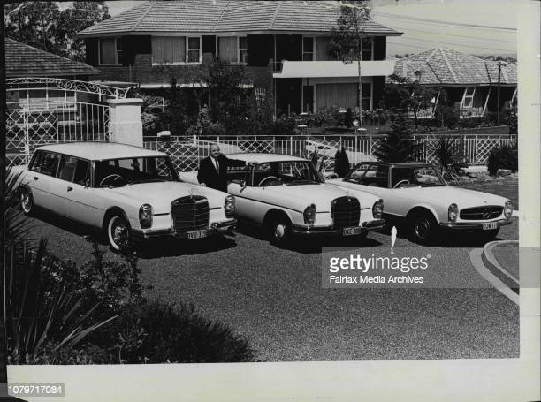 Mr. Jack Wlson, Chairman of Amalgamated Chemicals, outside his Blakehurst Home, with his fleet of Mercedes Renz Cars.Mr. J. Wilson, a 40-year-old...