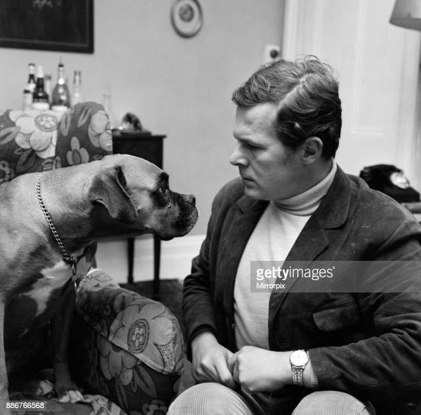 Mr James Cellan Jones who directed seven episodes of The Forsyte Saga photographed at home at Kew with his dog Betsy 14th November 1968