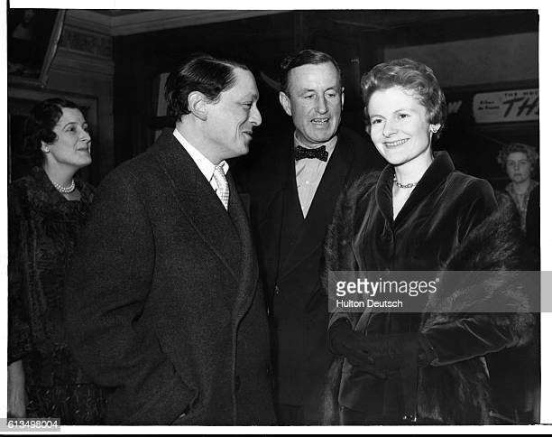 Mr James PopeHennessy Mr Ian Fleming the novelist and Lady Eden attend the CameoPoly Premiere