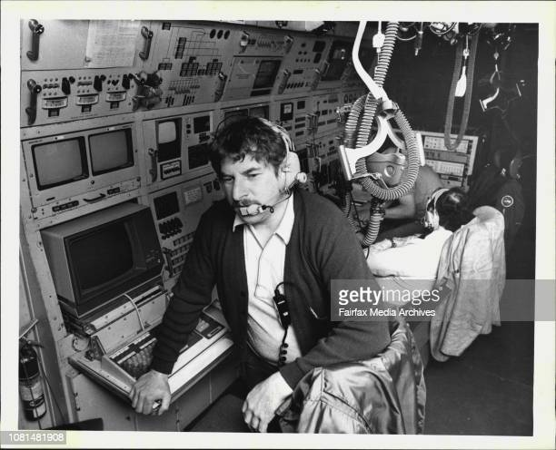 Mr Jim McClenaham the mission director for the National Aeronautics and Space Administration's Kuiper flying telescope at his post during an...