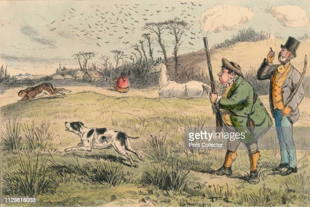Mr. Jogglebury Crowdey with his dog and his gun', circa 1860s. Humorous scene: two men, one with smoking shotgun, and dog chasing a rabbit. Artist...