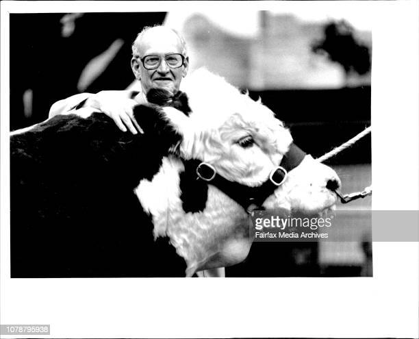 Mr John Halstrom of Womoyne stud with the bull he bought for a record auction price of 6 thousand dollarsA record was nothing to do with fairy floss...