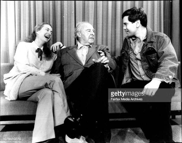 Mr John Houseman with two members of the company Lisa Banes who plays Elizabeth I and Charles ShawRobinson on of the players at Mascot todayTo go...