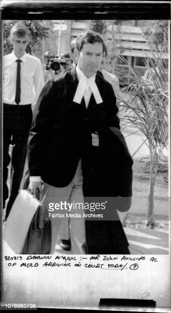 Mr John Phillips QC of Melb arrival in Court today September 13 1982