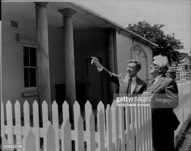 Mr John Wallace president of the marintime service board and the Minister for public works Mr Jack Ferguson looking at the Governors houseHistoric...