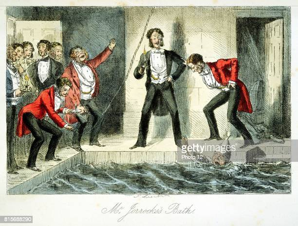 Mr Jorrocks having retired early very drunk sleepwalking during violent dream falls in Lord Bamber's swimming pool and is rescued by other house...