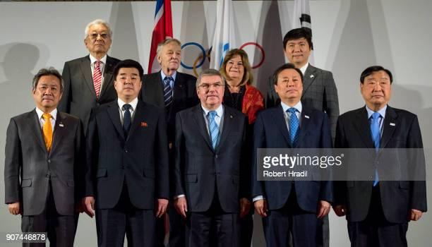 Mr Kim Il Guk DPR Korea Sport Minister and President of the Olympic Committee IOC President Thomas Bach Mr Jong Whan Do South Korea Miniter of...