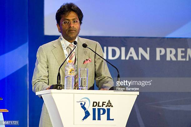 Mr Lalit Modi Chairman and Commissioner of Indian Premier League attends the IPL Auction 2010 on January 19 2010 in Mumbai India