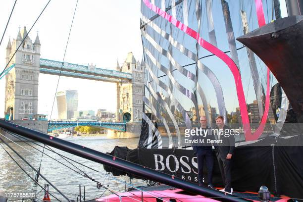Mr Langer and Alex Thomson attend the The 'HUGO BOSS' Boat Christening Ceremony and Cocktail Party on September 19, 2019 in London, England.