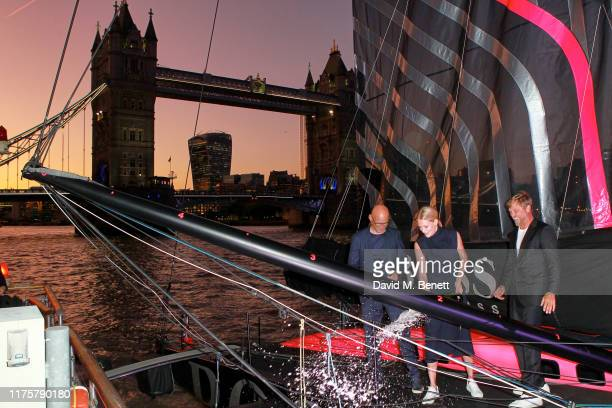 Mr Langer, Poppy Delevingne and Alex Thomson attend the The 'HUGO BOSS' Boat Christening Ceremony and Cocktail Party on September 19, 2019 in London,...