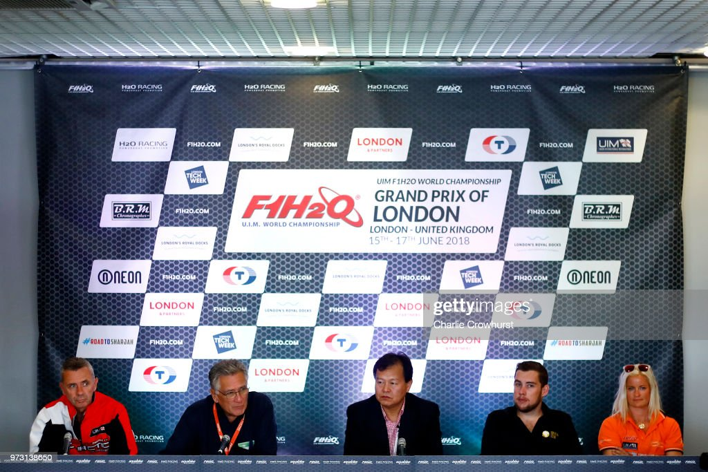 Mr Li Hao Jie Chairman Tiang Rang, Marit Stormoy female pilot, Philippe Chioppe Pilot, Grant Track Pilot, Jonathan Jones Ex Pilot and Nicolo Di San Germano President of H20 Racing during the World Championship's press conference, ahead of the London Grand Prix, at ExCel on June 13, 2018 in London, England.