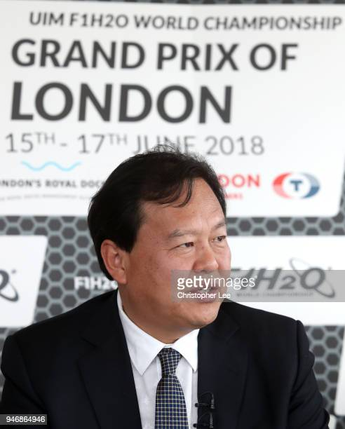 Mr Li Haojie Chairman of Tian Rong Sports speaks to the media during a press conference during the UIM F1H2O Grand Prix Of London Launch in London on...