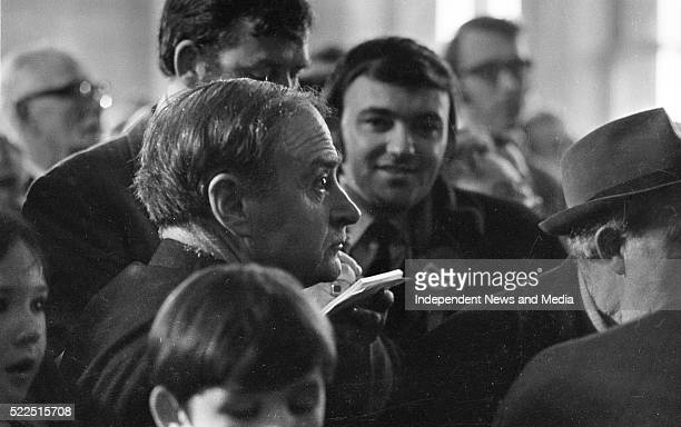 Mr Liam Cosgrave pictured at Dun Laoghaire Town Hall with returning Officer Noel K Peart 3731