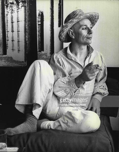 """Mr. Lindsay Kemp, British mime artist pictured at the Kings Gate Hotel Kings X.Mr King is in aust for the show """"Flowers"""" at Glebe. October 29, 1975. ."""