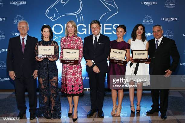 Mr Louis Romanet Michelle Payne Belinda Stronach Mr JuanCarlos Capelli Georgina Bloomberg Reed Kessler and Mr Ingmar de Vos attend the Longines...