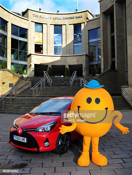 A 'Mr Man' poses with the world's first ticklish car engineered by Toyota makes an appearance on February 19 2014 in Glasgow Scotland This 'oneoff'...