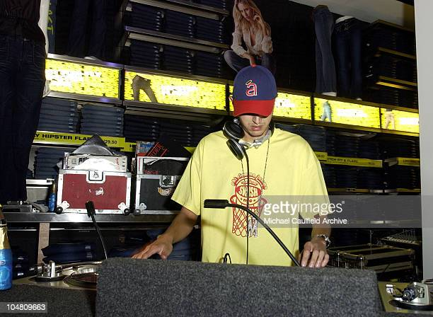 DJ Mr Mauricio during a launch party at the new EXPRESS flagship store at the Aventura Mall in Aventura Florida Thursday July 25 2002 The party was...