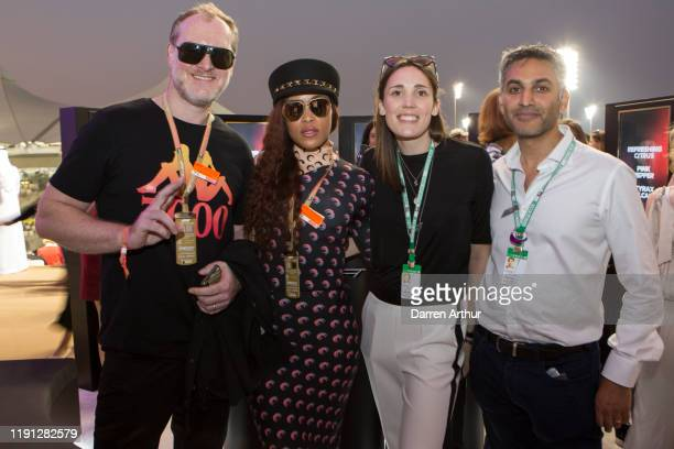 Mr Maximillion Cooper his wife American Rap Artist Eve guest and Parag Vidyarthi managing director of Designer Parfums at the launch of the F1...