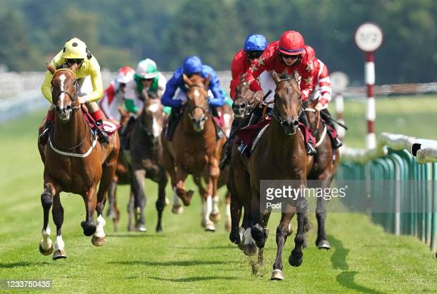 Mr Mccann and Jane Elliott coming home to win the British EBF Novice Stakes at Haydock Park Racecourse on July 1, 2021 in Newton-le-Willows, England.