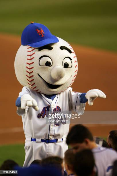 Mr Met the mascot of the New York Mets entertains the crowd during game one of the National League Division Series against the Los Angeles Dodgers at...