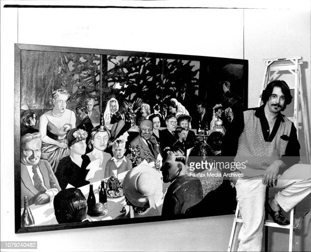 Mr Michael Ramsden at the Frank Watters callery in the city todayMr Ramsden is pictured with on of his painting's calledA night at the Currawong...