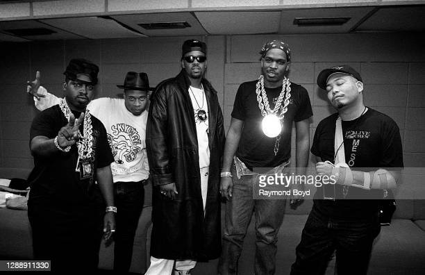 Mr. Mixx and rapper Brother Marquis of 2 Live Crew, rapper The D.O.C. And rappers Luke Skyywalker and Fresh Kid Ice of 2 Live Crew poses for photos...