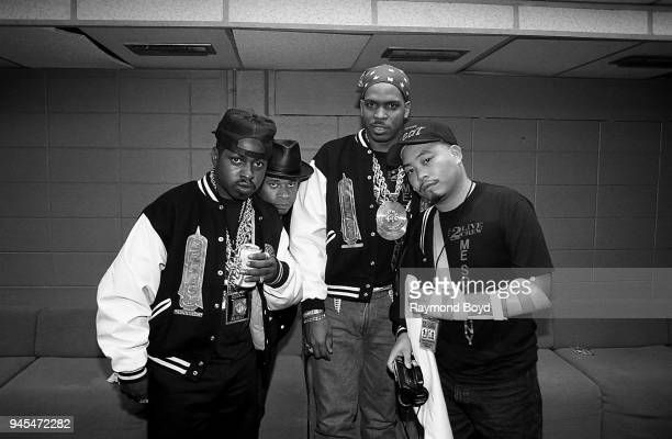 Rappers Mr Mixx Brother Marquis Luke Skyywalker and Fresh Kid Ice poses for photos backstage at the International Amphitheatre in Chicago Illinois in...