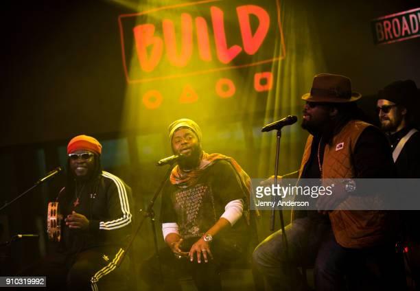 Mr Mojo Peetah Morgan and Roy 'Gramps' Morgan of Morgan Heritage attend AOL Build at Build Studio on January 25 2018 in New York City