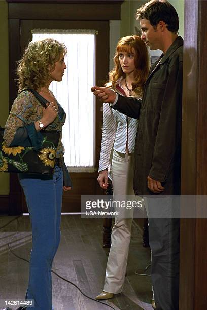 MONK Mr Monk and the Earthquake Episode 11 Pictured Bitty Schram as Sharona Fleming Janine Theriault as Christine Rutherford Cameron Daddo as Darryl...