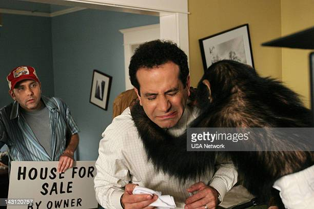 MONK Mr Monk and the Panic Room Episode 2 Pictured Tony Shalhoub as Adrian Monk Willie garson as Leo Navarro Mowgli as Darwin the Chimp