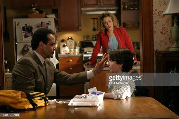 """Mr. Monk and the Panic Room"""" Episode 2 -- Pictured: Tony Shalhoub as Adrian Monk, Kane Ritchotte as Benjy Fleming, Bitty Schram as Sharona Fleming --"""