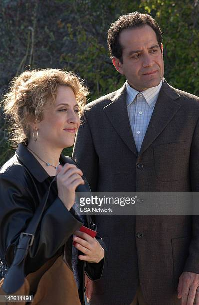 MONK Mr Monk and the Psychic Episode 3 Pictured Bitty Schram as Sharona Fleming Tony Shalhoub as Adrian Monk