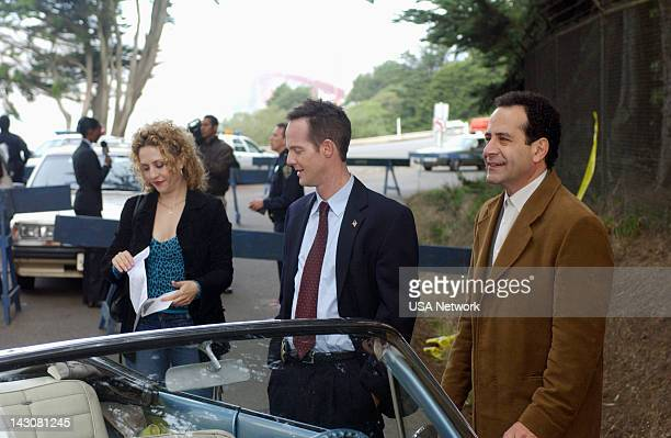 """Mr. Monk and the Three Pies"""" Episode 11 -- Pictured: Bitty Schram as Sharona Fleming, Jason Gray-Stanford as Lt. Randall Disher, Tony Shalhoub as..."""