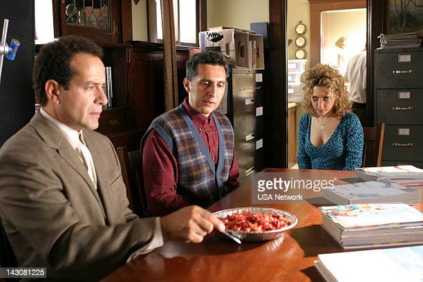 MONK Mr Monk and the Three Pies Episode 11 Pictured Tony Shalhoub as Adrian Monk John Turturro as Ambrose Monk Bitty Schram as Sharona Fleming
