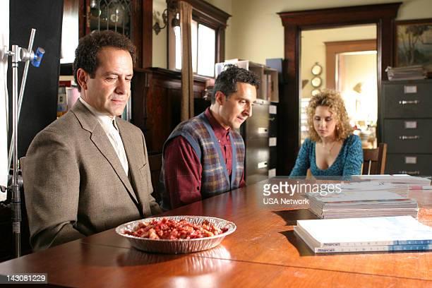 "Mr. Monk and the Three Pies"" Episode 11 -- Pictured: Tony Shalhoub as Adrian Monk, John Turturro as Ambrose Monk, Bitty Schram as Sharona Fleming --"