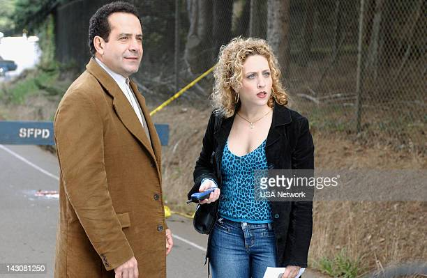 """Mr. Monk and the Three Pies"""" Episode 11 -- Pictured: Tony Shalhoub as Adrian Monk, Bitty Schram as Sharona Fleming --"""