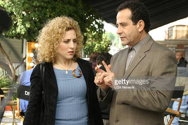 """Mr. Monk and the TV Star"""" Episode 12-- Pictured: Tony Shalhoub as Adrian Monk, Bitty Schram as Sharona Fleming --"""