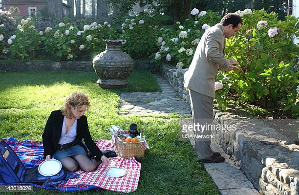 """Mr. Monk Gets Married"""" Episode 15-- Pictured: Bitty Schram as Sharona Fleming, Tony Shalhoub as Adrian Monk --"""